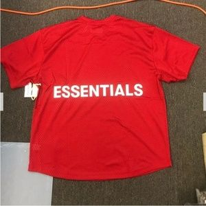 Fear of God Essentials Graphic Red Mesh Tee